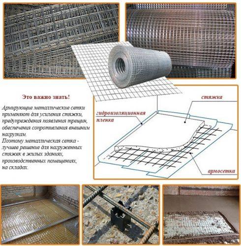 Армирование пола металлической сеткой