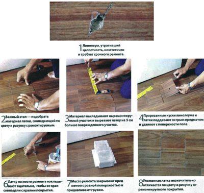 Процесс ремонта линолеума